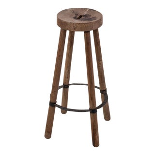 High French Stool in Wood with Metal Foot Ring For Sale