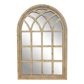 Distressed Finish Cathedral Window Pane Wall Mirror For Sale