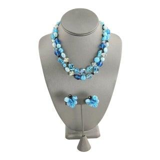 Hattie Carnegie Art Glass Necklace & Earrings Set For Sale