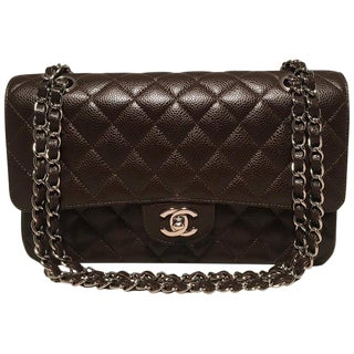 Chanel Brown Caviar Medium 10inch 2.55 Double Flap Classic Shoulder Bag For Sale