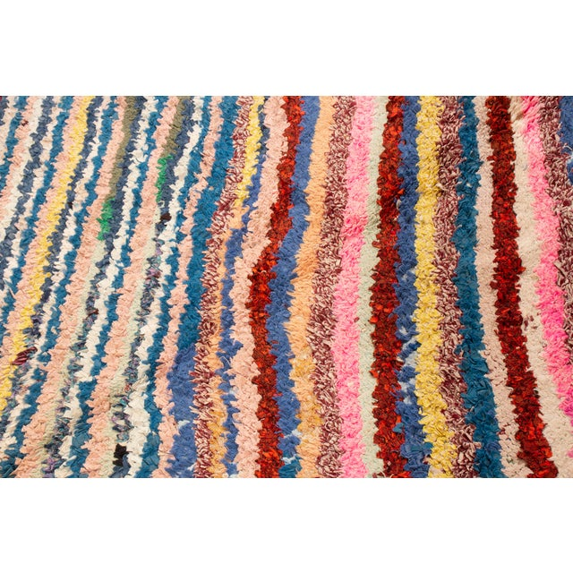 1950s Vintage Mid-Century Moroccan Transitional Pink and Blue Multicolor Wool Rug - 3′10″ × 6′4″ For Sale - Image 5 of 6