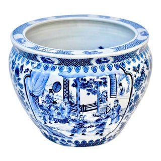 Vintage Asian Blue and White Fish Bowl For Sale