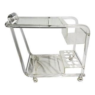 70s Acrylic W/ Chrome Bar Cart For Sale