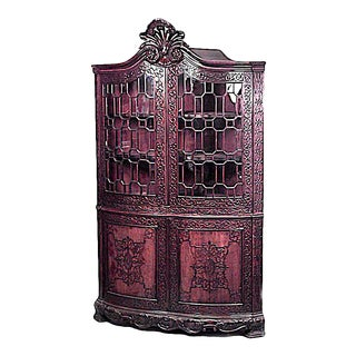 Chinese Chippendale Mahogany Corner Cabinet For Sale
