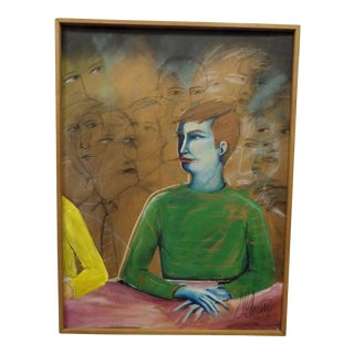 """1980s Expressionist Original Sol Aquino Paint/ Mixed Media , Signed """" Talked to Me Unitl I Turned Blue"""" For Sale"""