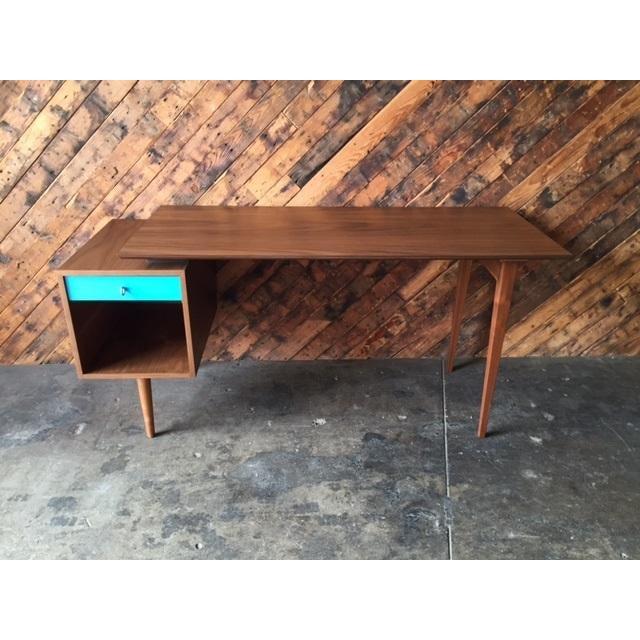 Mid-Century Style Walnut Desk - Image 3 of 8