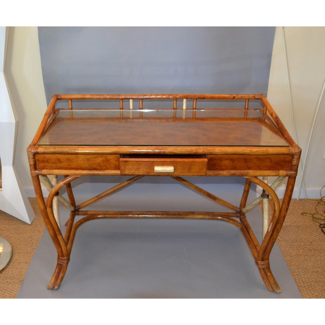 Americana Boho Chic Vintage Handcrafted Bamboo Desk, Writing Desk With Drawer & Glass Top For Sale - Image 3 of 13