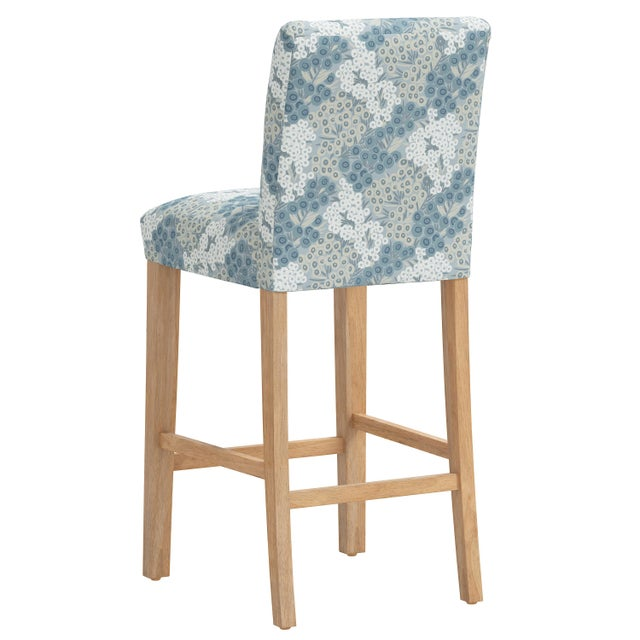 Bar stool in Loiret Blue For Sale - Image 4 of 8