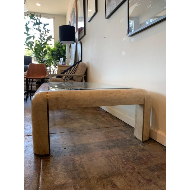 Maitland-Smith RectangleTessellated Stone & Brass Glass Top Coffee Table For Sale In Los Angeles - Image 6 of 10