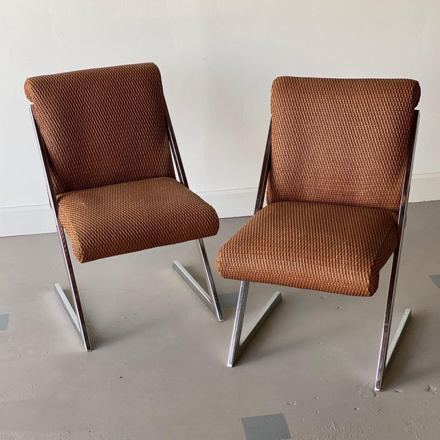 Brown Mid-Century Synthetic Rattan Chairs - A Pair For Sale - Image 8 of 8