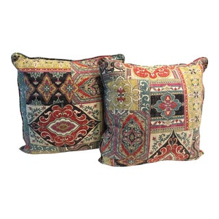 Boho Chic Paisley Linen Pillows - a Pair For Sale