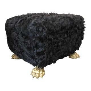 Black Fur Ottoman With Huge Brass Lion's Feet For Sale