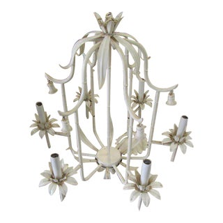 Palm Beach Faux Bamboo Chandelier For Sale