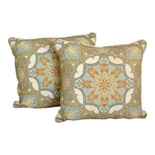 Gold and Turquoise Medallion Design Pillows With Feather Fillers - a Pair For Sale