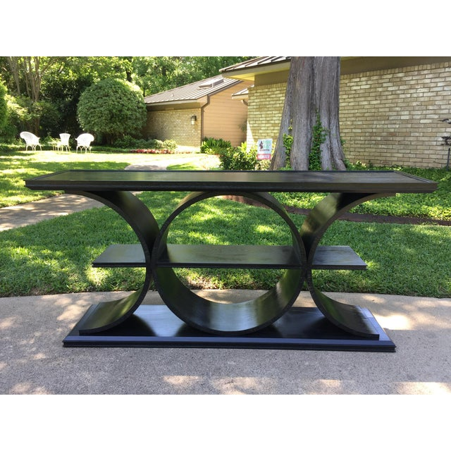 Black Asian Modern Vanguard Furniture Black Entertainment Console Table For Sale - Image 8 of 8