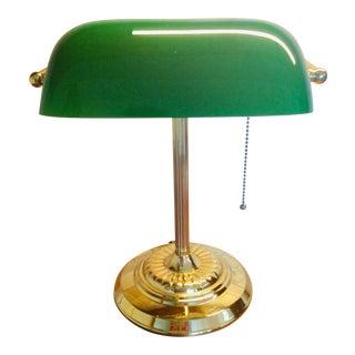 Vintage Emeraldite Bankers Lamp For Sale