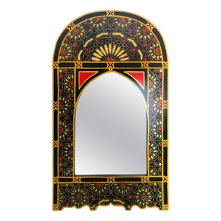 Moroccan Moorish Design Hand Painted Wall or Vanity Mirror in Black With Gold and Mustard For Sale