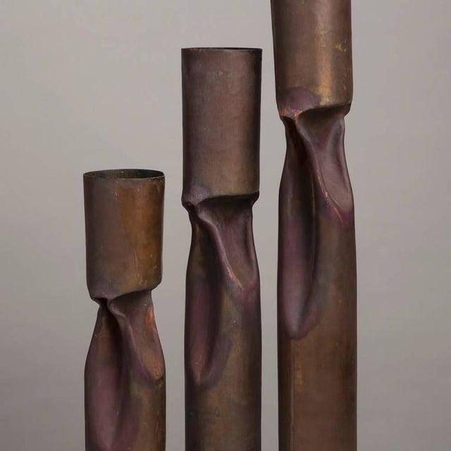 Set of Three Oversized Brutalist Copper Vases, Stamped - Image 3 of 4