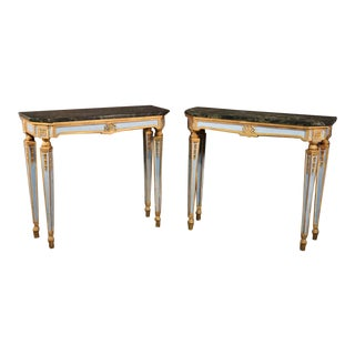 Fine Pair of Russian Paint Decorated and Gilded Marble-Top Console Tables For Sale