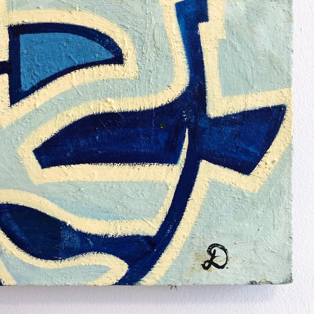 1980s Abstract Multi Blue Colored Oil on Canvas Painting For Sale In West Palm - Image 6 of 10