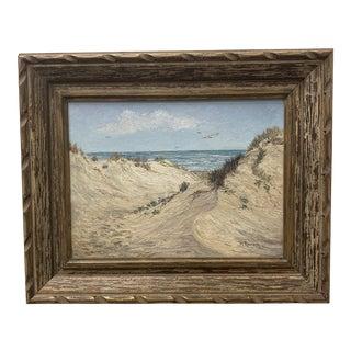 Mid 20th Century Beach Scene Oil Painting, Framed For Sale