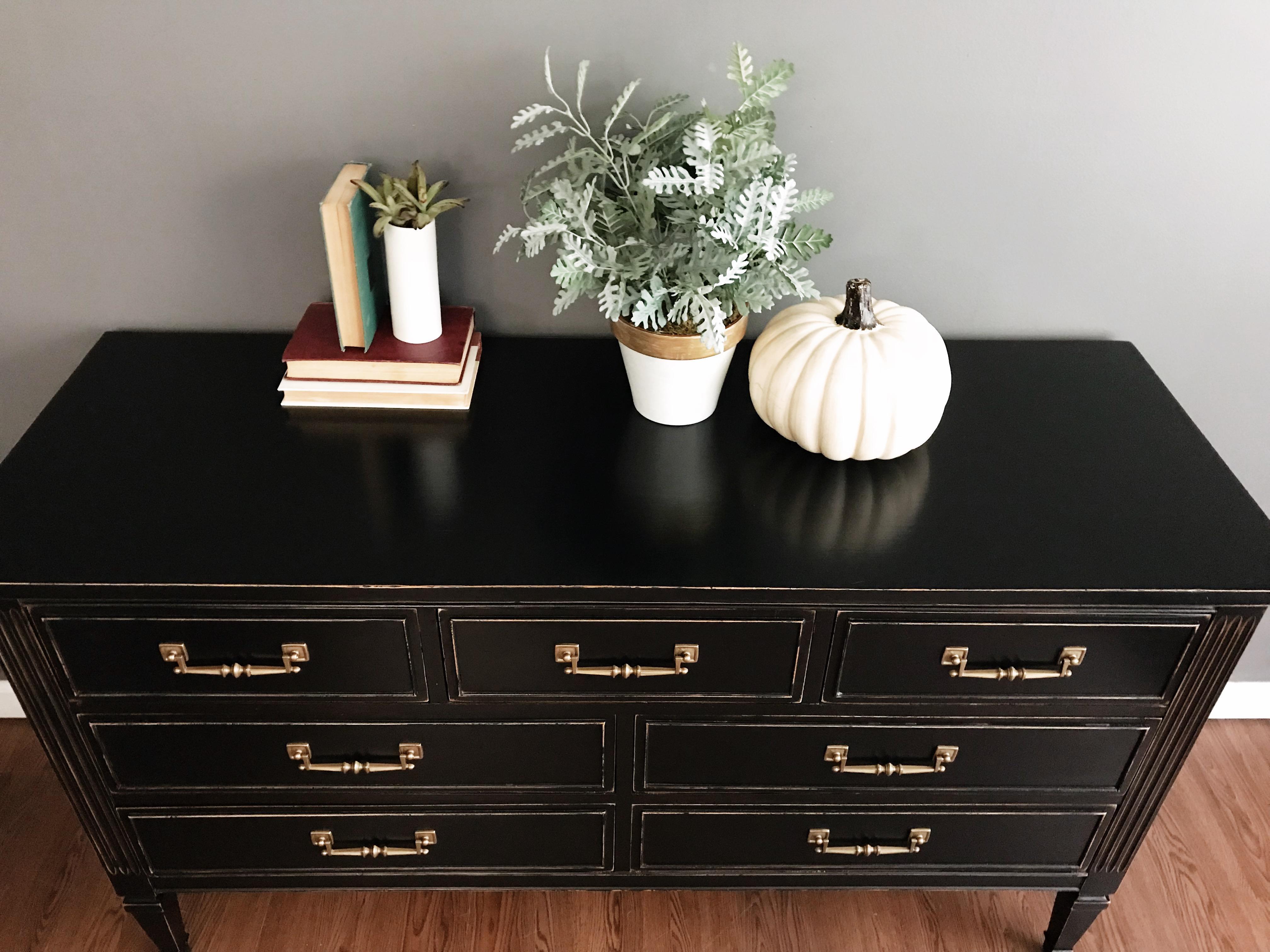 Black Dixie Furniture Black Distressed Dresser For Sale   Image 8 Of 8