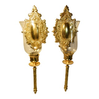 Solid Brass Convex Oval Design Candle Wall Sconces - a Pair For Sale