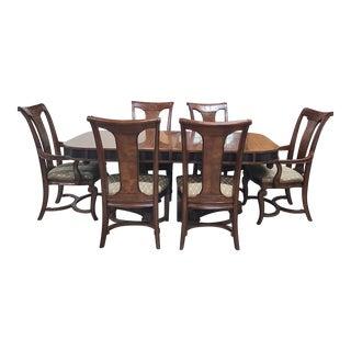 Maitland-Smith Niermann Weeks Walnut Table & Thomasville Chairs Set For Sale