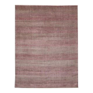 Transitional Grass Cloth Patterned Pink and Grey Area Rug with Modern Style For Sale