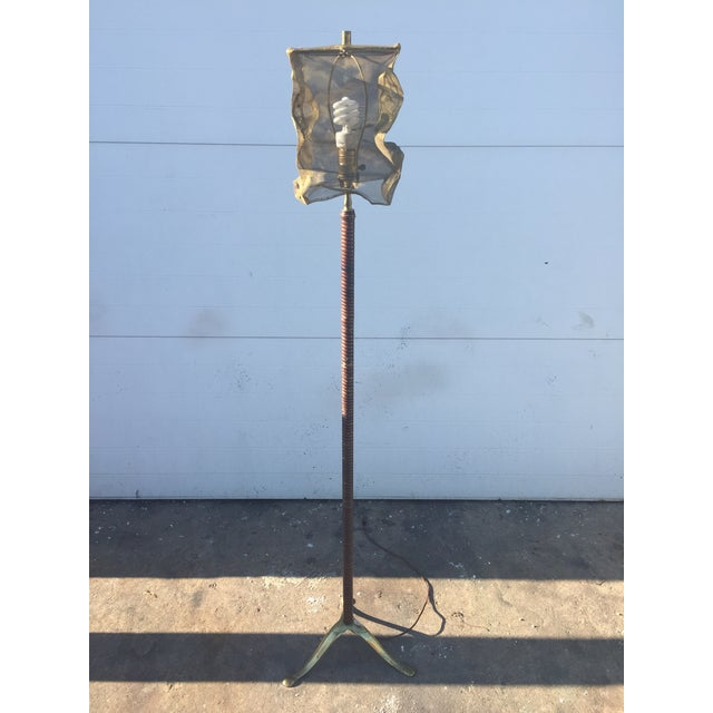Vintage Floor Lamp With Screen Shade - Image 2 of 8