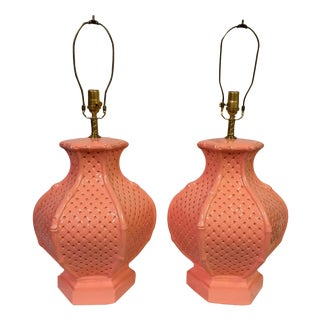 Coral Lacquered Faux-Bamboo Lamps