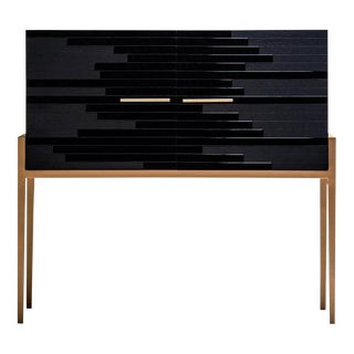 Contemporary Small Cabinet in Black Oak For Sale