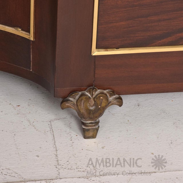 1950s Mexican Modernist Mahogany and Bronze Credenza Dresser Attributed Arturo Pani For Sale - Image 5 of 10