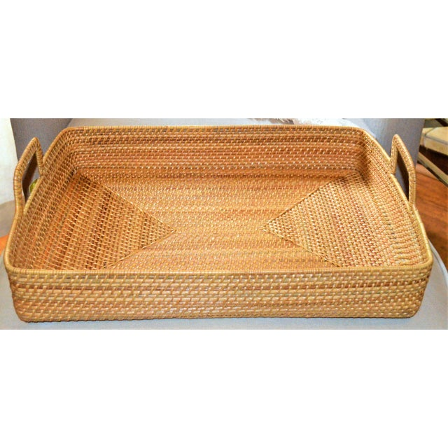 Brown Cottage Style Rattan Woven Large Handled Tray For Sale - Image 8 of 9