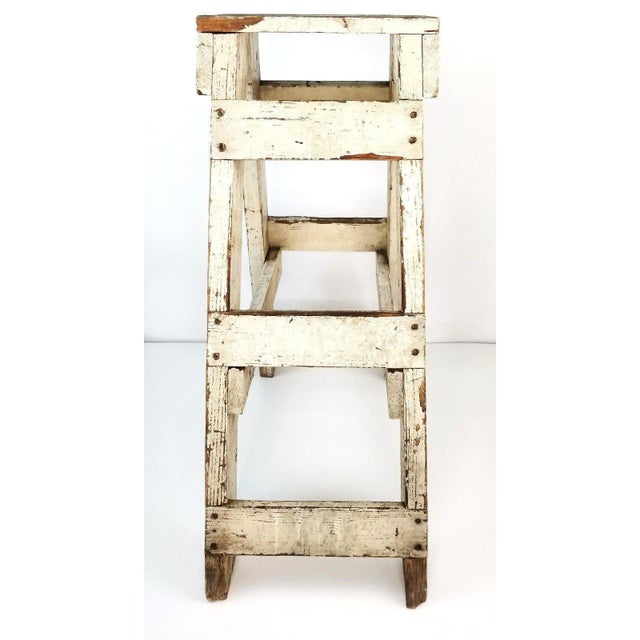 Cottage Antique Primitive Farmhouse Country Kitchen White Wood Stool Plant Stand Decor For Sale - Image 3 of 6