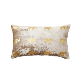 Meru Taupe Velvet Lumbar Pillow With Elephants For Sale