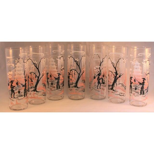 Glass Vintage Libbey Asian Design HighBall Cocktail Glasses - Set of 7 For Sale - Image 7 of 7