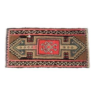 Kurdish Rug Distressed Low Pile Yastik Rug Faded Colors Mat Rug - 18'' X 36'' For Sale
