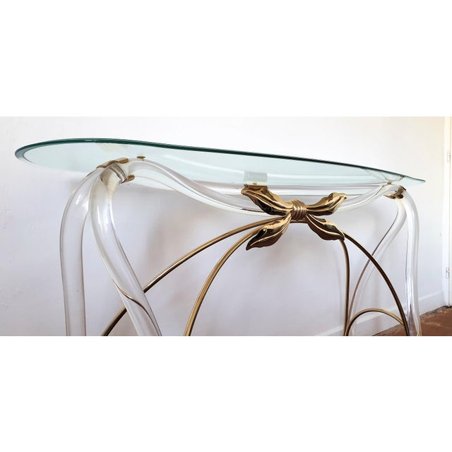 Gold Large Mid-Century Modern Organic Glass Brass & Lucite Console Table, Spain 1970s For Sale - Image 8 of 13