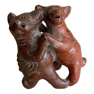 Primitive Joyful Dancing Dog Figural Accent For Sale