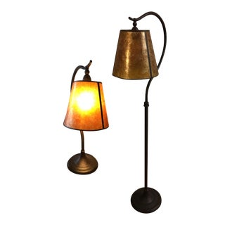 Pottery Barn Mica Floor & Table Lamp - A Pair For Sale