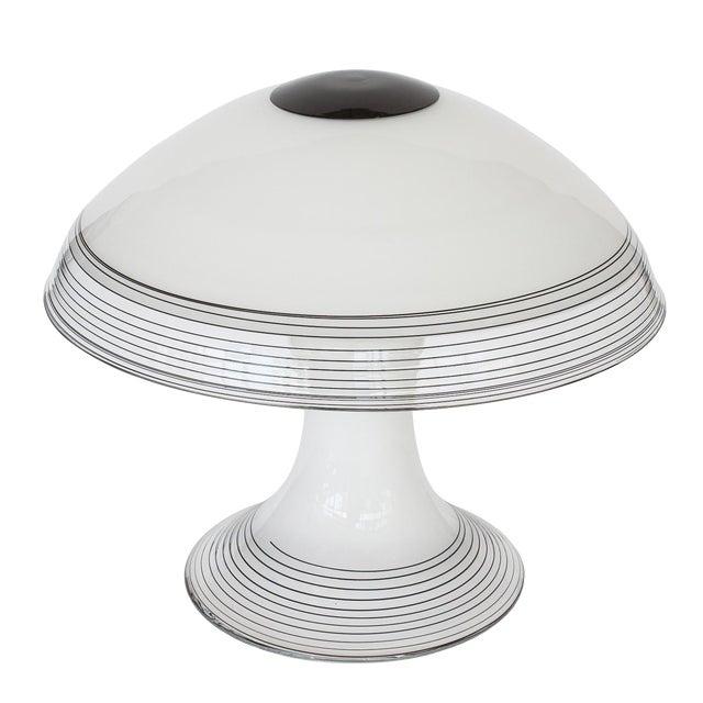 Italian Black and White Murano Swirl Glass Table Lamp - Image 1 of 10