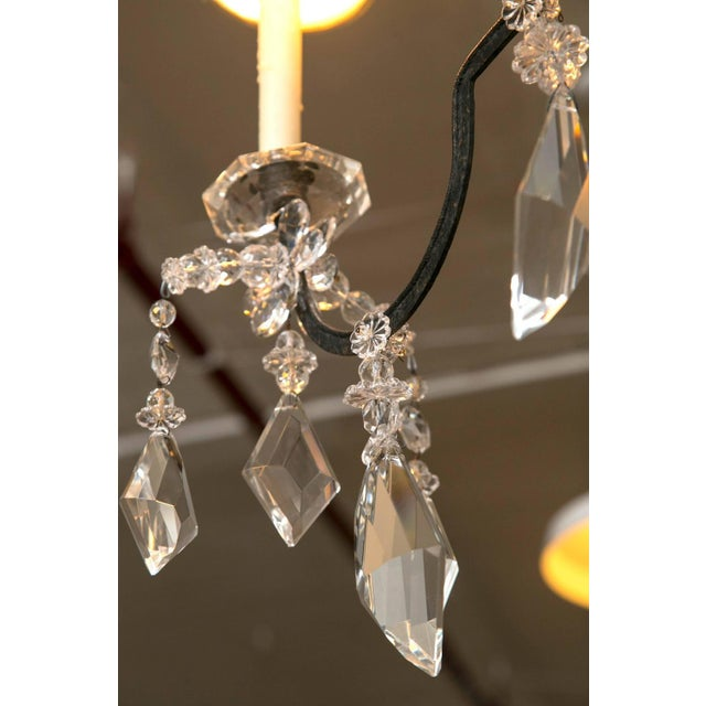Holly Hunt Wrought Iron & Crystal Chandelier For Sale In New York - Image 6 of 10