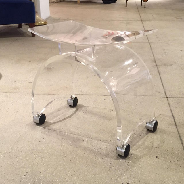 Vintage Lucite Stool on Chrome Plated Wheels - Image 9 of 9