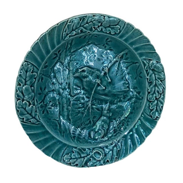 French Set of Six Antique French Majolica Bird Plates - Set For Sale - Image 3 of 11