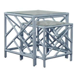 Chippendale Nesting Tables - Blue For Sale