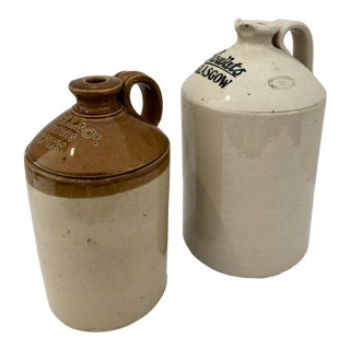 Old Stoneware Whiskey Jugs, Glasgow & England, Set of 2 For Sale