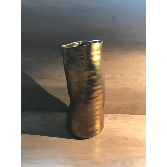 Mid Century Modern Bronzed Ceramic Vase For Sale In New York - Image 6 of 7
