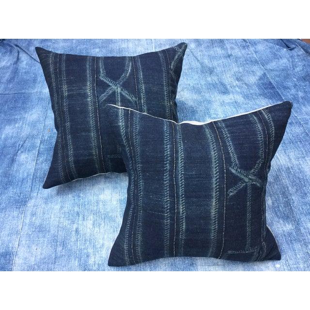 African Indigo Pillows - A Pair - Image 2 of 6