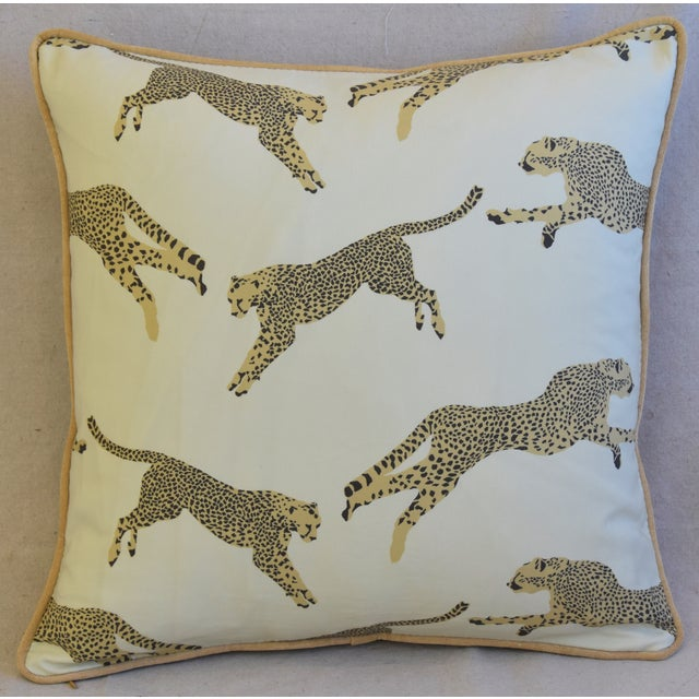 """Boho Chic Scalamandre Cheetah & Velvet Feather/Down Pillow 20"""" Square For Sale - Image 3 of 10"""